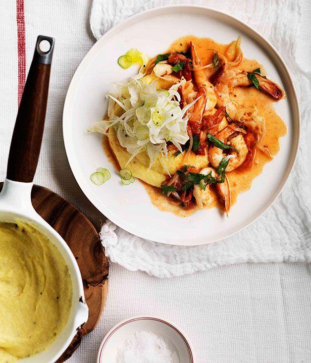 Australian Gourmet Traveller recipe for prawns on soft polenta.
