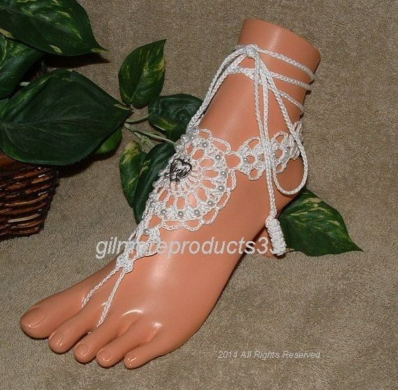 Beach wedding barefoot sandals crochet anklet by gilmoreproducts33