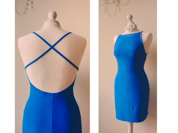 Vintage 90's Mini dress in royal blue with by VintageVanillaShop