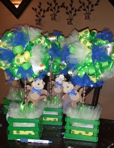 Ribbon Topiary Centerpiece For My Baby Boy Monkey Theme Baby Shower I Love It