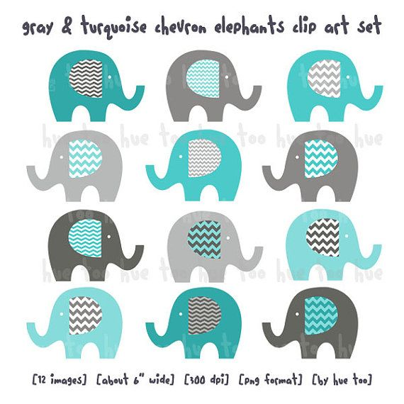 elephants clip art, boys chevron elephant clipart,  gray blue aqua turquoise, cute images for invitations baby shower birthday download 06\ on Etsy, $7.00