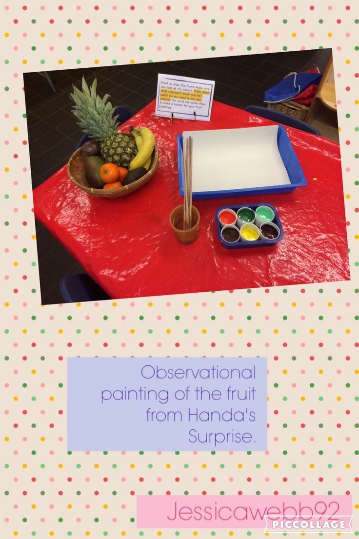 Observational painting of the fruit from Handa's Surprise. EYFS