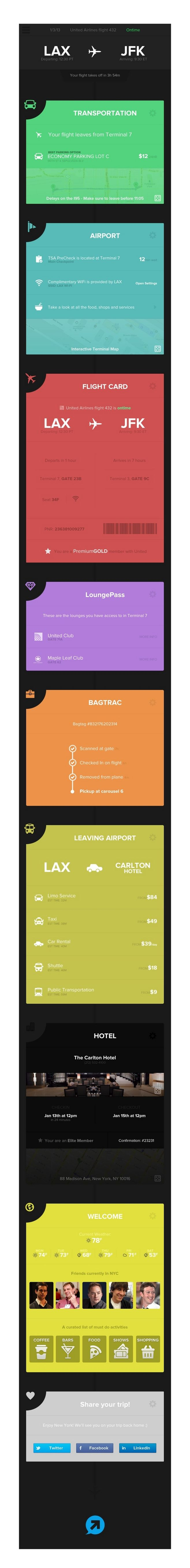 Flight application interface design flat flat design ...