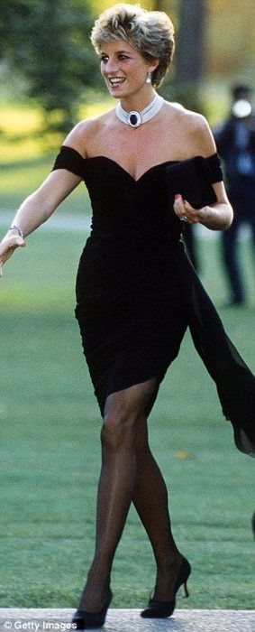 "Princess Diana in the dress that she deliberately wore on the day that Prince Charles did his TV interview in which he announced to the world that he ""had never loved her."""