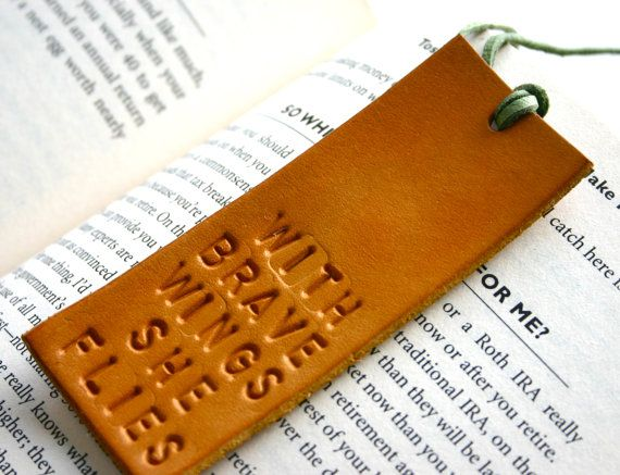 Bookmark. Leather stamped bookmark. With Brave Wings by JustJaynes, $12.00
