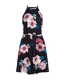 Black Floral Print Scuba Box Pleat Skater Dress | New Look