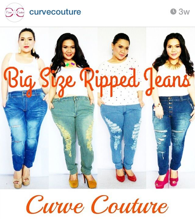 Big size ripped jeans for you ladies! Here in the philippines it's ...