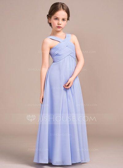 [US$ 86.38] A-Line/Princess Floor-length Flower Girl Dress - Chiffon Sleeveless V-neck With Ruffles (010096128)