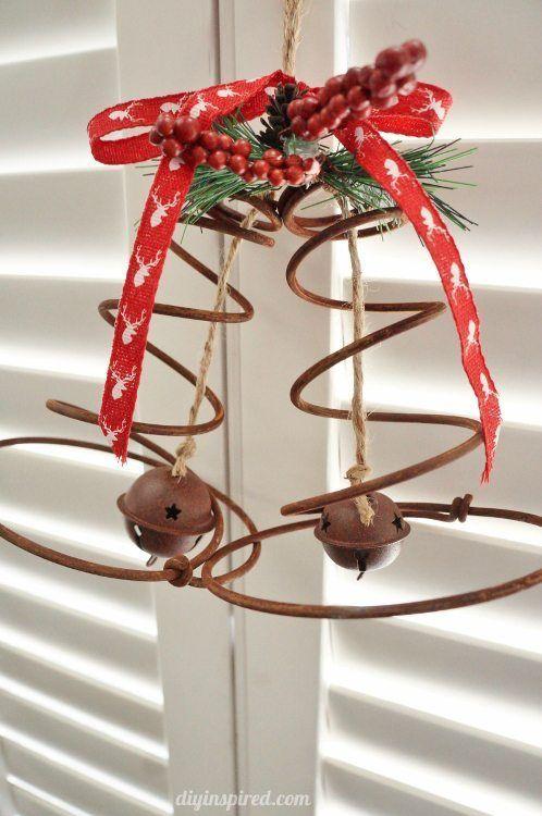 Repurposed Bed Spring Christmas Bells DIY Inspired