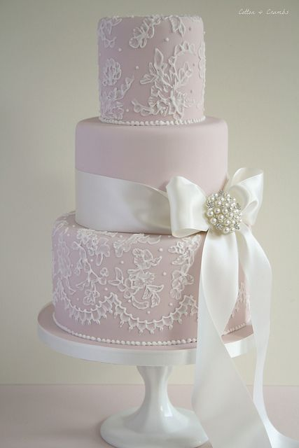 Cotton & Crumbs. Love the lace on the bottom tier. (cake wouldn't be pink)