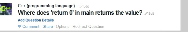 Where does 'return 0' in main returns the value?