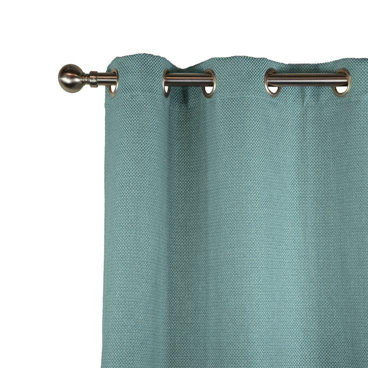 Authentique rideau d'ameublement jacquard grand tissage turquoise/naturel. Finition à oeillets, ruflette ou plis flamands.