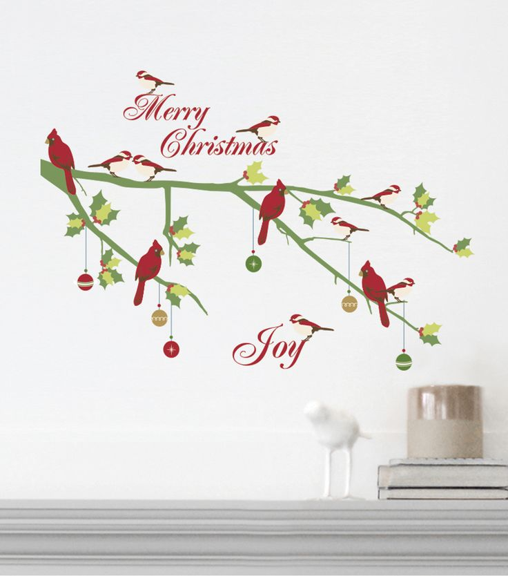 DCWV Home Christmas Wall Decal: Merry Christmas with Birds ...