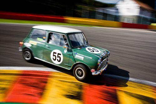 Fantastic shot of a classic green racing mini