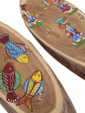 Wooden Pattachitra Painted Key Holder-Set of 2