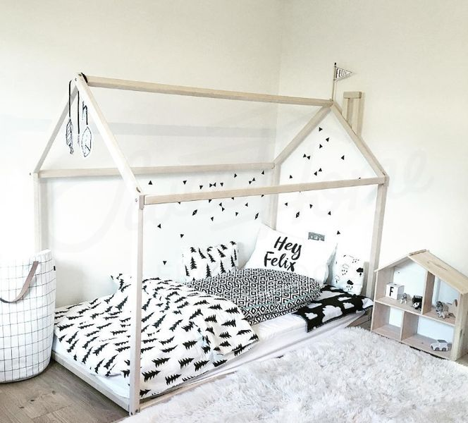 Frame bed is an amazing place for children where they can sleep and play. This adorable bed-house will make transitioning from a cot to a bed smoothly. Bed is designed following Montessori...