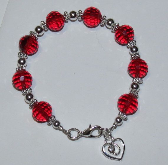Red Crystal Glass Heart Charm Bracelet by PawInspiredCreations