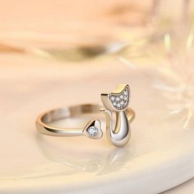 Kitty Tail Heart Ring
