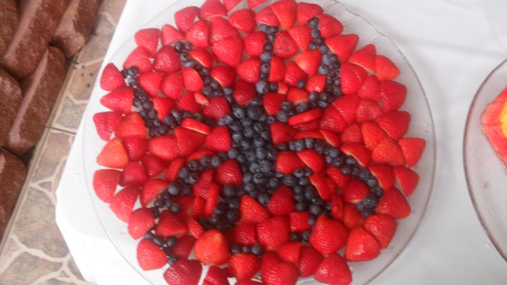 Spiderman fruit tray. My husband made this for our son's superhero birthday party.   Blueberries and strawberries