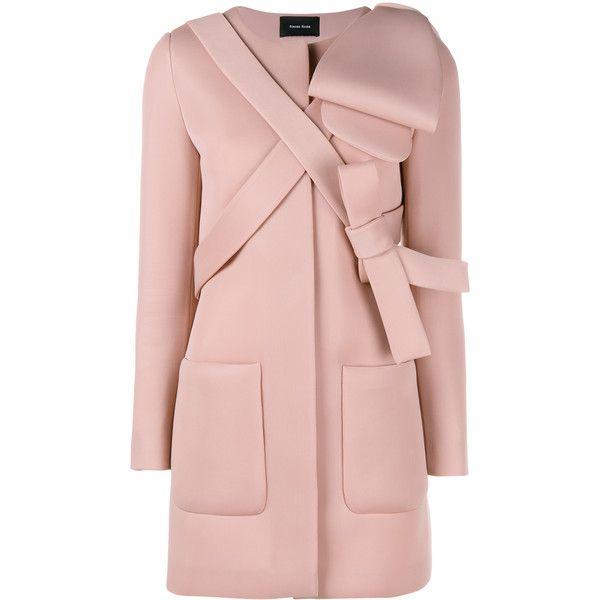 Simone Rocha Neoprene Bow Coat found on Polyvore featuring outerwear, coats, simone rocha, pink coat, summer coat, light pink coat and long sleeve coat