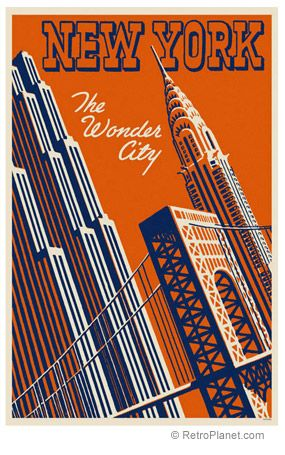 New York City Vintage Travel Art Print