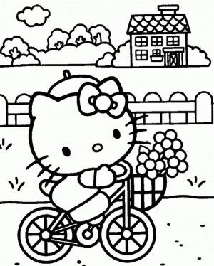 hello kitty bicycle coloring pages