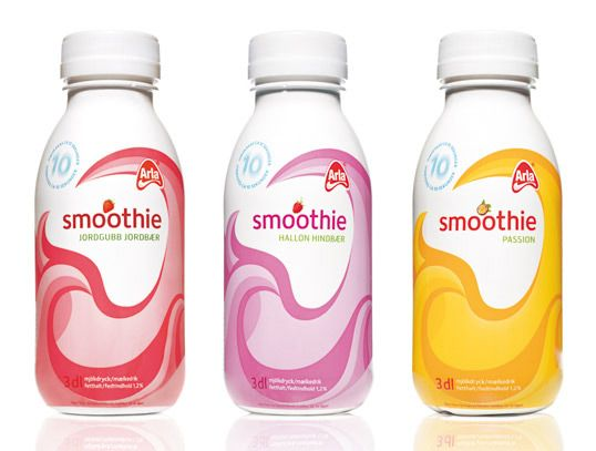 """Designed by Happy Forsman & Bodenfors   """"The word 'smoothie' is a delicious onomatopoeia and Happy's packaging adds to the appeal of the blended fruity yoghurt drink – the swirling movement of the graphic invites us to shake it up."""""""