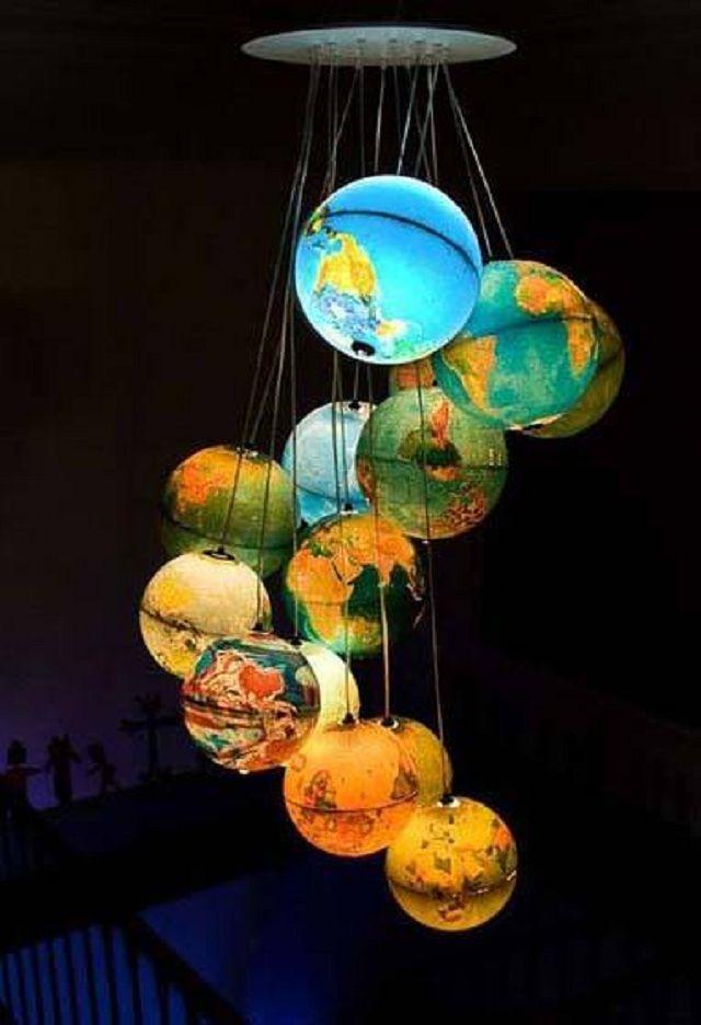 Earth Globe Chandelier