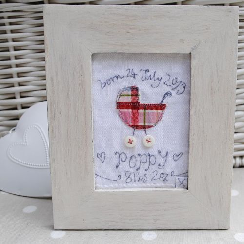 Personalised Embroidered New Baby Girl Pram Textile Art Picture | Christening Gift | Framed