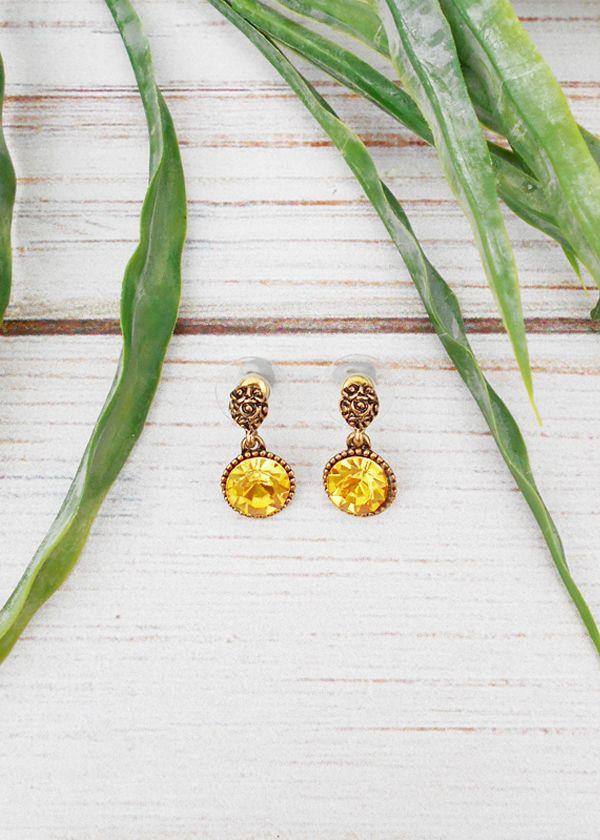 Yellow Pendant Earrings <3