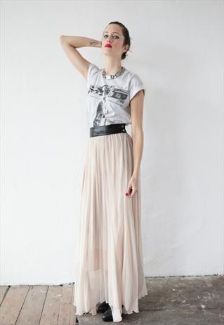 Elin Maxi Skirt with Pleats - Nude