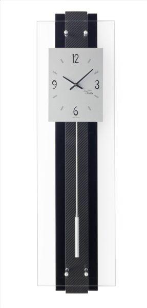 Quartz wandklok #ams #7394  #quartz #modern #moderne #klok #hoogglans #zwart #gelakt #koolstofvezel #inleg #juwelier #steensma #drachten
