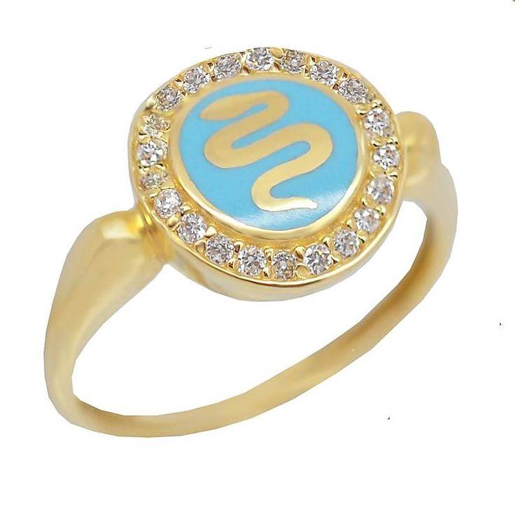 Δ570P- Χρυσό δαχτυλίδι με φίδι σε τιρκουάζ φόντο