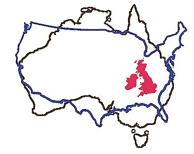 Size comparison of the contiguous United States, Australia, and the UK.
