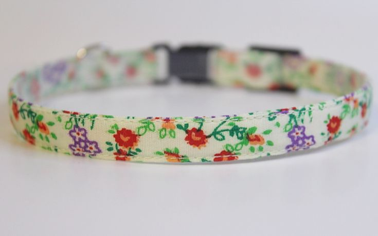 Beautiful handmade red and purple floral cat collar by PurrsonalCreations on Etsy
