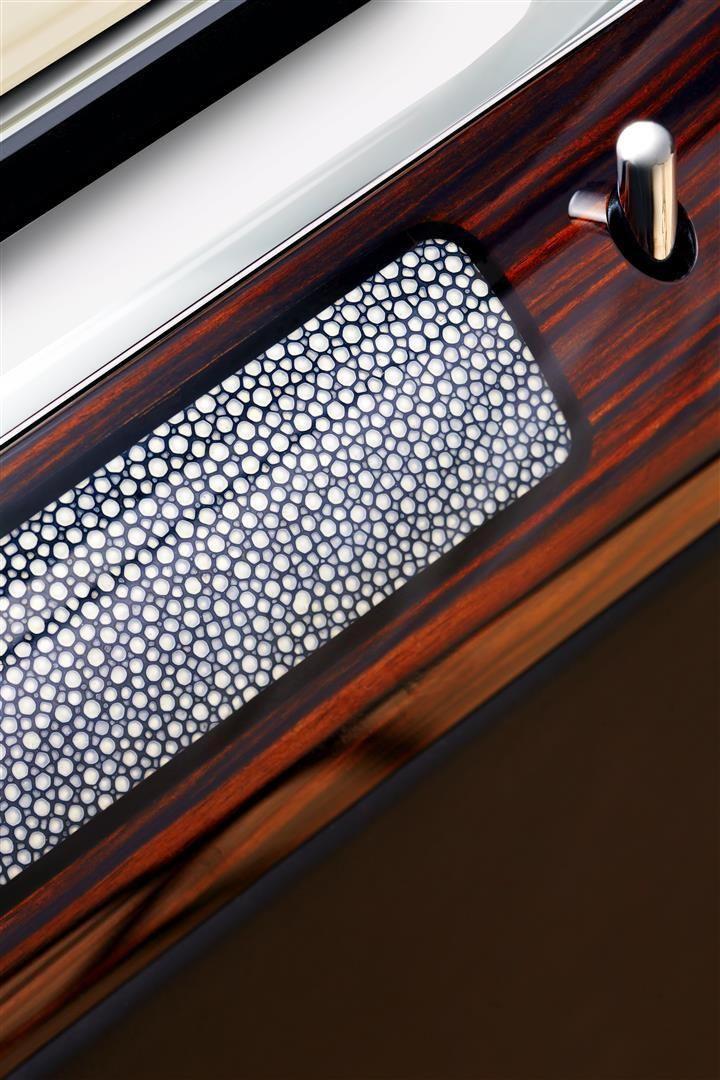 The Boucher Inspired Rolls-Royce Ghost. We create bespoke interiors in Macassar Ebony and Shagreen with Black Ebony inlays.