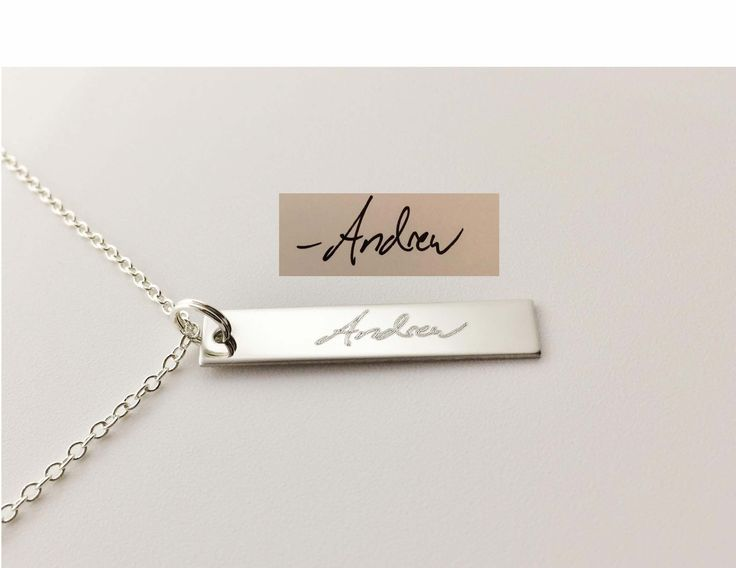 Our actual handwriting necklace features a signature of choice beautifully engraved on a rectangle shaped pendant.! The beauty in this is that YOU personalize it to make it special for you or someone