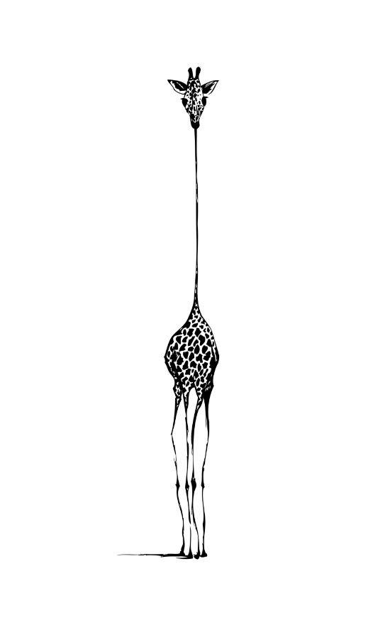 Giraffe Art Print, giraffe poster, black & white wall art, minimalist modern wall print