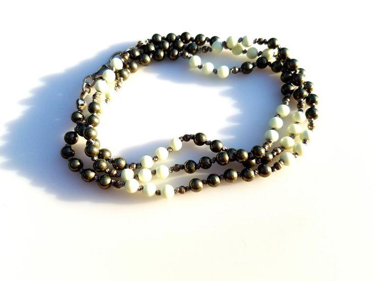 Pyrite & Chrysoprase Beaded Necklace Boho Beaded Necklace Hand Knotted Necklace Pyrite Beaded Wrap Bracelet Layering Necklace Festival Style by NatalieCara on Etsy