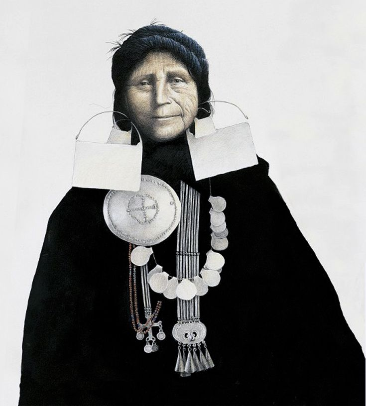 Mapuche woman, 19th century || Illustration by José Pérez de Arce