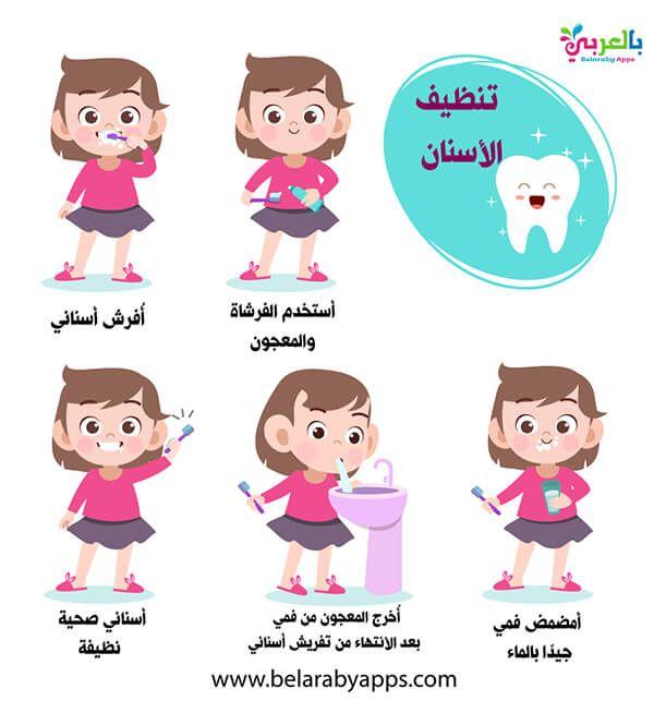 خطوات تنظيف الاسنان بالصور للاطفال الطريقة المثلى لتنظيف الأسنان بالفرشاة بالعربي نتعلم Brushing Teeth Kids Character