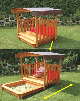 Awesome way to keep the sandbox clean and out of the way. You can also use it for a shade dog retreat when the kids are grown.