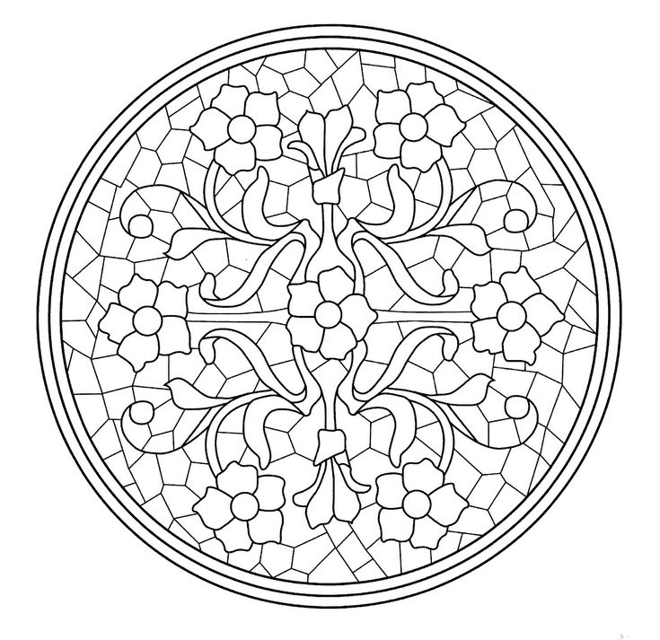 complex stained glass coloring pages - photo#31