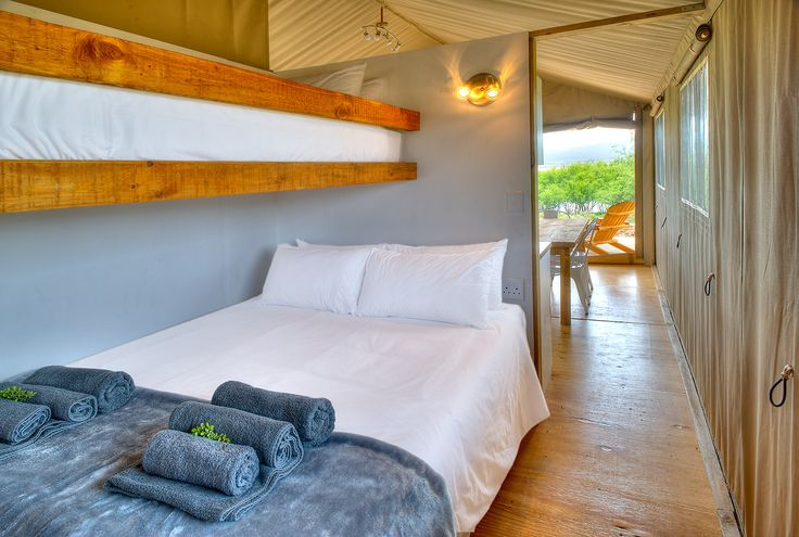 AfriCamps Glamping at Klein Karoo, South Africa. Second bedroom equipped with a single bunk bed above the queen. All our beds are extra length.
