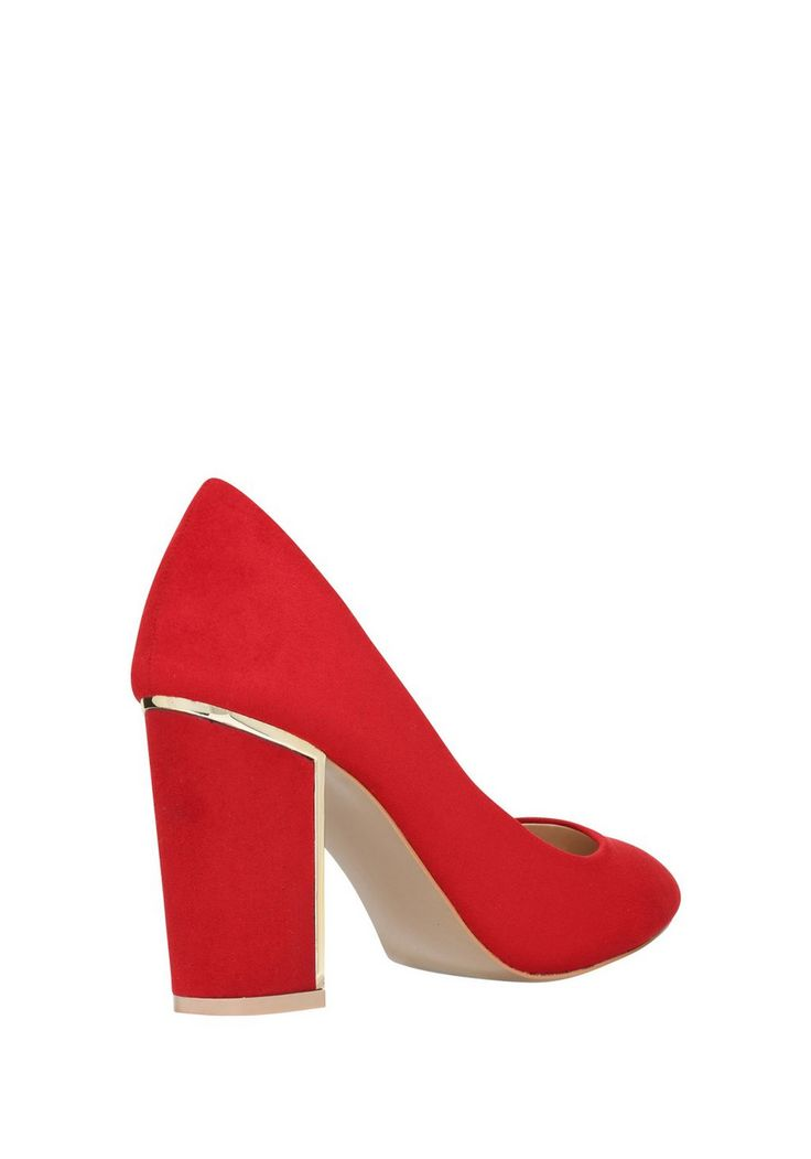 F&ampF Gold Insert Block Heel Court Shoes. Colour Red. With red suede