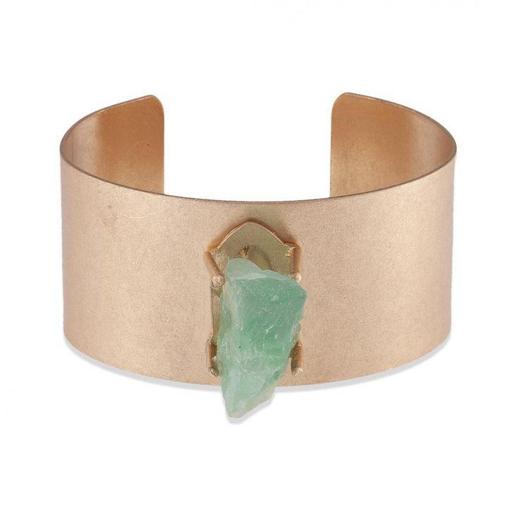 Manchette pierre semi-précieuse verte