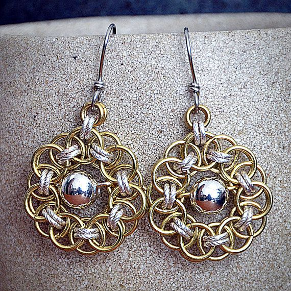Gold & Silver Sunflower Chain Maille Earrings
