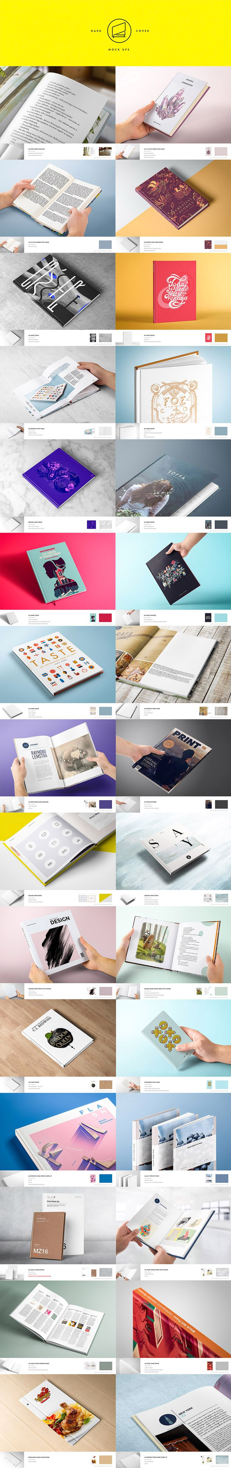 The world's most comprehensive print mockup pack! The Gigantic Mockup Templates Bundle includes this amazing Print Mock Up Pack from Mockup Zone! Display your designs on hard covers, soft covers, folded papers, posters/flyers as well as business cards. In Total: 129 Photo mockups and 75 Top-view mockups.