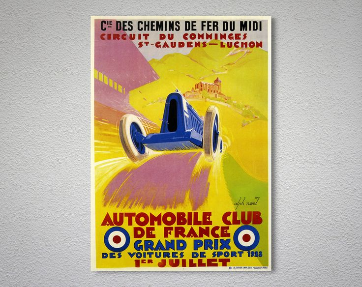 Automobile Club de France, Grand Prix, 1928  Vintage Poster