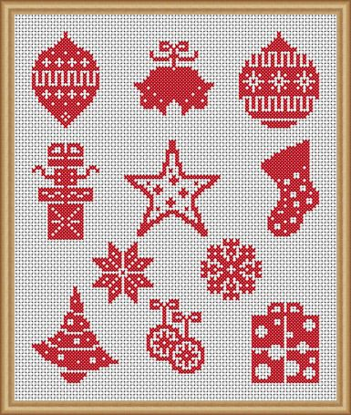 Red & White Christmas - PDF Cross Stitch Patterns - Instant Download